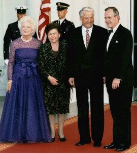 Barbara Bush and her husband President George H. Bush welcome Russian President Boris Yeltsin and his wife. (Washington Post)