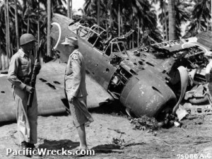 Eleanor Roosevelt inspects a downed U.S. plane in Guadalcanal during World War II. (FDRL)