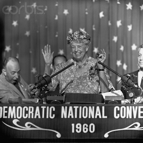 Eleanor Roosevelt Speaking at the 1960 Democratic National Convention. (Corbis)