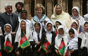 Laura Bush visiting an Afghanistan school for girls. (GWBL)