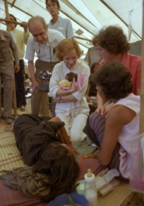 Rosalynn Carter in a Cambodian refugee camp on the Thailand border, 1980. (JECL)