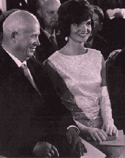 he American First Lady Jacqueline Kennedy with the Soviet Union Premier Nikita Khruschev in April of 1961, Vienna, Austria. (original photographer unknown)