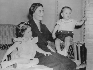 Theo Landon with children Nancy and  John. (Kansas Historical Foundation)
