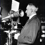 Warren Harding having his voice recorded. (Library of Congress)