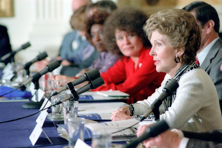 Nancy Reagan speaks at a White House Conference on Drug Abuse and Families, 1982. (Reagan Library)