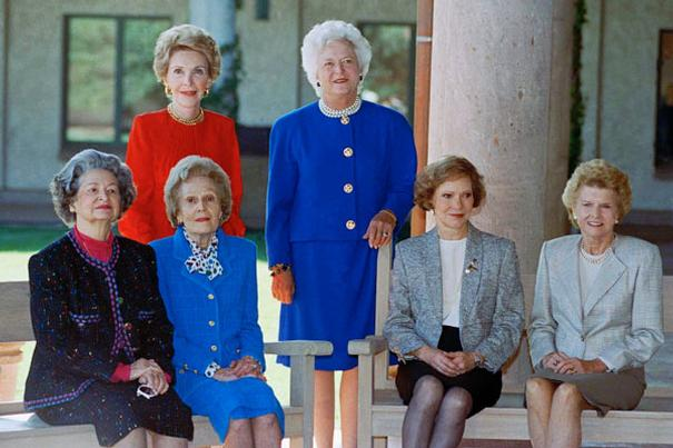 Gathered in 1991 for the dedication of the Reagan Presidential Library were Lady Bird Johnson, Pat Nixon, Rosalynn Carter, Betty Ford, Nancy Reagan and Barbara Bush (Reagan Presidential Library)