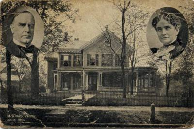 "One of many souvenir postcards showing William and Ida McKinley and their rented ""Campaign House."" (ebay)"