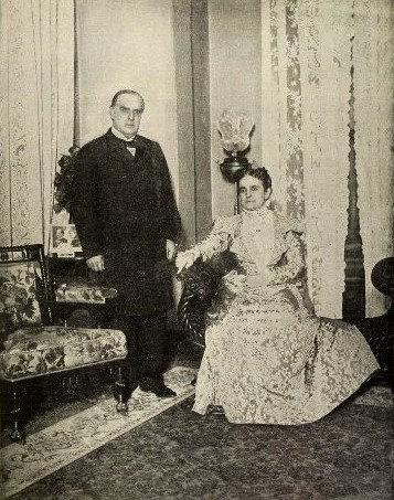 The President and Mrs. McKinley in the Saxton-McKinley House, 1899. (private collection)