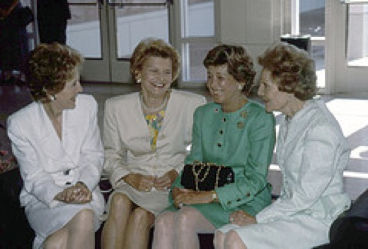 Three Californians who were First Ladies, Nancy Reagan, Betty Ford and Pat Nixon with  Gloria Duekmenian California Governor's spouse (second from right), June 1991. (Nixon Foundation)