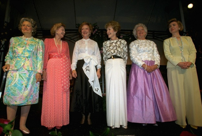Lady Bird Johnson (far left), Betty Ford (second from left), and Nancy Reagan (fourth from left) are three of the longest-living First Ladies; seen here with Rosalynn Carter, Barbara Bush, and Hillary Clinton in 1994. (Clinton Presidential Library)