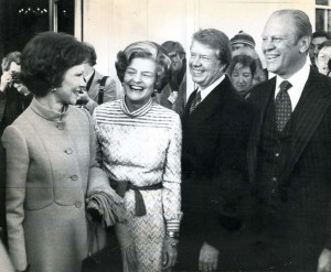 Rosalynn Carter, Betty Ford and their husbands on the day the Ford presidency ended and the Carter one began, Inauguration Day 1977. (Baltimore Examiner/Washington Examiner)