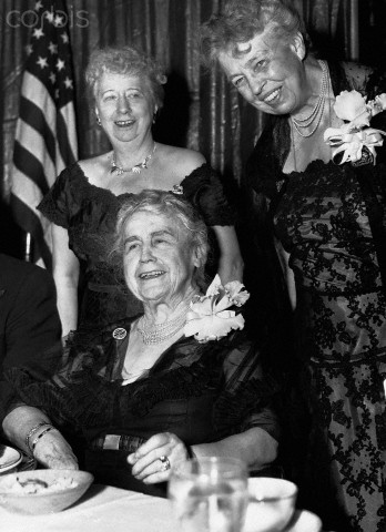 As former First Ladies, Edith Wilson, Eleanor Roosevelt and Bess Truman agreed to headline a large Democratic Party fundraiser in the 1950s. (Bettman/Corbis)