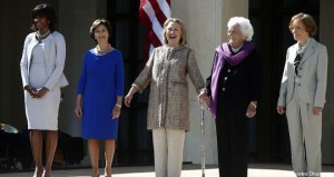 Michelle Obama, Laura Bush, Hillary Clinton, Barbara Bush and Rosalynn Carter, April 25, 2013. at the GW Bush Presidential Library dedication. (AP)