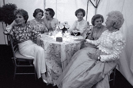 Six First Ladies gathered to raise funds for the National Botanical Garden, May 11, 1994. (Clinton Presidential LIbrary)