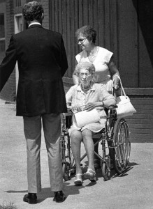 n her last known photograph, Bess Truman at age 94 years old, exits a Sugar Creek, Missouri restaurant in August of 1979. (UPI)
