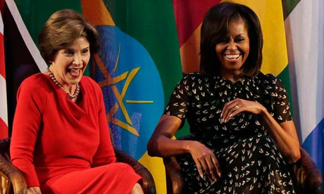 First ladies Michelle Obama Laura Bush Africa