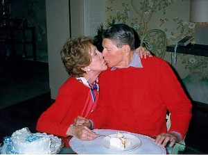 Former President Reagan celebrated his birthday in 1996 with Nancy Reagan. (The Reagan Library)