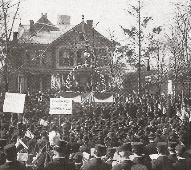 "A speaker's stand had to be constructed on the front lawn of the McKinley ""Campaign House"" as the crowds coming to Canton to hear the candidate became overwhelming. (Library of Congress)"