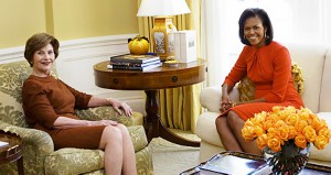 Laura Bush and Michelle Obama talk after the outgoing First Lady's tour of the White House family quarters which she conducted for her incoming successor. (George W. Bush Presidential Library)