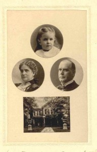 "An 1896 ""cabinet card"" photo sold to visitors to Canton depicted Katie McKinley along with her parents and the ""Campaign House."" (private collection)"