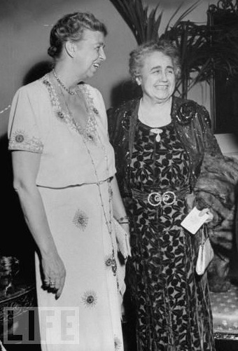 Incumbent First Lady Eleanor Roosevelt with her predecessor Edith Wilson in 1936, during a period when the latter refused to join the former in any joint efforts that were overtly partisan. (Time-Life)