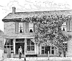 A rendering of McKinley's Niles, Ohio birthplace.