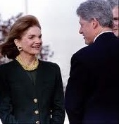 Former First Lady Jacqueline Kennedy Onassis with President Clinton seven months before her 1994 death. (Clinton Presidential Library)