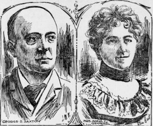 A newspaper sketch of George Saxton and Anna George. (San Francisco Call)