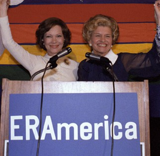 Incumbent First Lady Rosalynn Carter joined by her predecessor Betty Ford in their joint effort on behalf of the Equal Rights Amendment (Carter Presidential LIbrary)