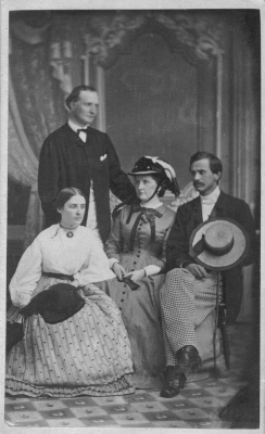 Seated at center with hat, Harriet Lane with friends at Bedford Springs, including her future husband Henry Elliott Johnston, standing. (Lancaster Historical Society)