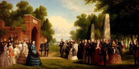 This painting depicts Prince Edward's visit with President Buchanan to Mount Vernon, Harriet Lane seen under the parasol. (Smithsonian)