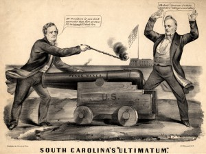 A cartoon spoofing Buchanan's compromises to the South on slavery. (library of Congress)