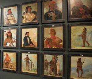 A display of George Catlin's Native American Indian portraits in London 2013. (The Telegraph:Paul Gower)