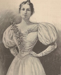 A newspaper drawing of Pina's daughter Mary Barber in the gown she wore to the 1897 Inauguration. (carlanthonyonline.com)