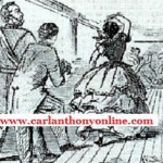 An engraving made at the time showing Harriet Lane bowling with the Prince of Wales. (carlanthonyonline.com)