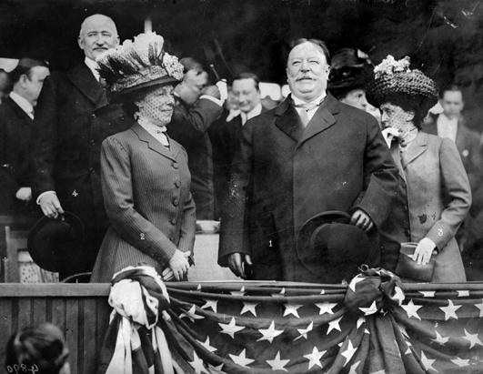 At the 1912 opening day game of the Washington Senators, Nellie Taft showed no physical evidence of the stroke she'd suffered in 1909. (Library of Congress)