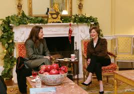 Laura Bush meets with Melinda Gates in the White House Yellow Oval in December 2006, when she disclosed that she had a cancerous tumor removed from her left leg. (W. Bush Presidential Library)