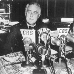 Franklin D. Roosevelt delivering one of his fireside chat radio speeches from the White House. (Huffington Post)