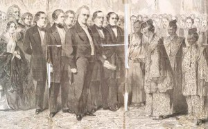 Harriet Lane at far left, was the only American woman formally presented to the Japanese delegation, depicted here greeted by President Buchanan in the East Room. (Leslie's Illusrtrated Newspaper)