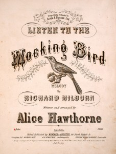 """Listen to the Mockingbird"" sheet music, with the composer's alias name listed. (Library of Congress)"