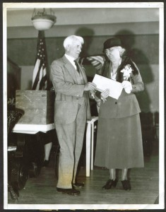 Lou Hoover votes in 1932 Palo Alto California, her home district. (HHL)