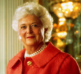 When her eyes appeared to bulge suddenly, Barbara Bush sought medical care and learned she had a thyroid condition. She chose to make all the details of it public. (Bush Presidential Library)