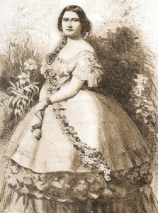 The Ulke photograph of Harriet Lane was then copied as an engraving and reprinted in the arrticle which first used the term first lady in reference to her. (Leslie's Illustrated Newspaper)
