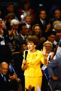 Elizabeth Dole walked among delegates to deliver her 1996 National Republican Convention remarks. (Corbis)