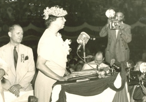 Eleanor Roosevelt became the first First Lady to address a convention nominating her husband.