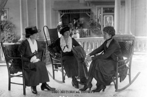 Florence Harding speaking to new women voters during the 1920 presidential campaign.