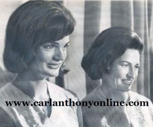 Former First Lady Jackie Kennedy joined incumbent First Lady Lady Bird Johnson at a 1964 National Democratic Convention reception.