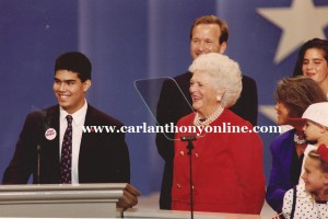 Following her 1992 National Republican Convention speech, Barbara Bush listens to her grandson.