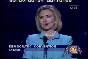 Incumbent First Lady Hillary Clinton speaks to the 1996 Democratic National Convention.