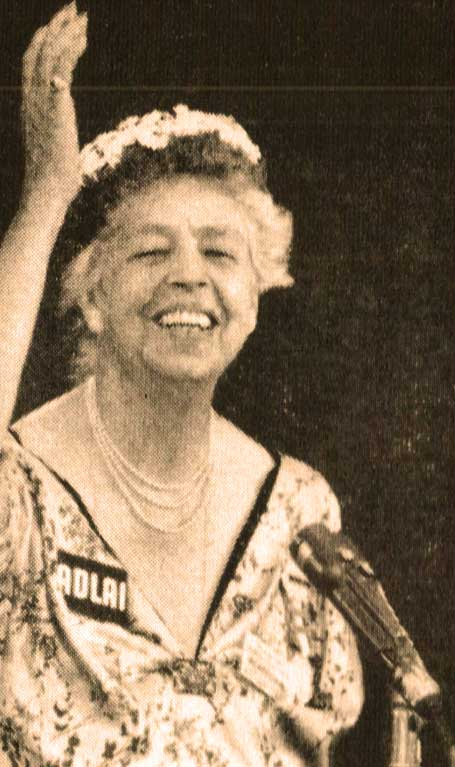 Mrs. Roosevelt at the 1956 convention, in support of the Democratic candidate Adlai Stevenson. (original source unknown)